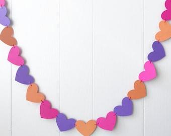 Hot Pink Orange Purple Heart Garland / Wedding Decoration / Love Bunting / Anniversary Decor / Photo Prop / Adjustable Hand Sewn