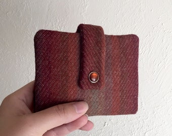 Upcycled Wool Variegated Red and Orange Wallet - Midsize Cash and Card Wallet with Change pouch