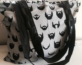 Beards, tote, beach bag, diaper bag, boy diaper bag, black tote, reversible tote, extra large bag, extra large tote, extra-large, large bag,