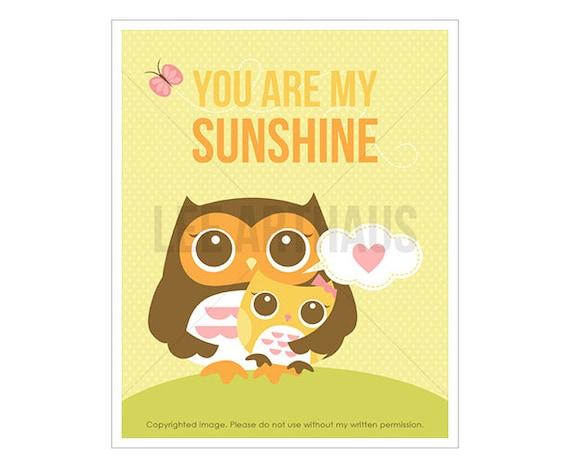 11T Kids Wall Art - You Are My Sunshine - Mother Owl with Baby Girl Owl Wall Art - Owl Nursery Theme - Girl Nursery Art Print - Owl Decor