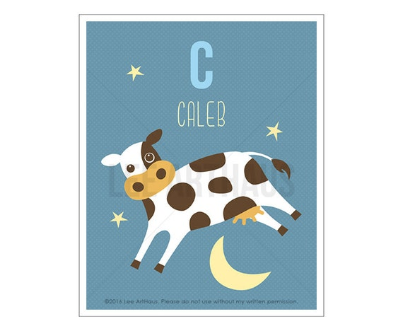 130P Cow Print - Personalized Letter C Cow Jumping Over Moon Wall Art - Cow Art - Baby Boy Nursery Room Decor - Animal Art - Children Art