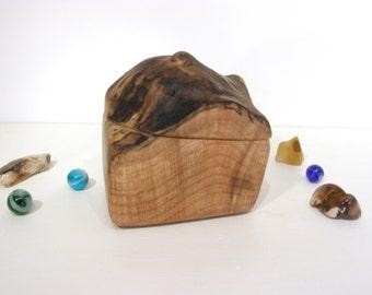 Maple Burl Wooden Box, Oregon, wood art, engagement ring box, ring bearer box, jewelry box, earring box, wood anniversary, guitar pick box