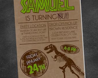 Dinosaur Bones Paleontologist Birthday Party Invite (printable digital file)