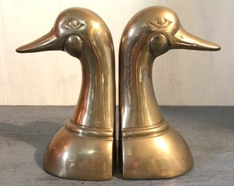 vintage brass bookends - duck head bookends - bird lover gift - woodland cabin decor