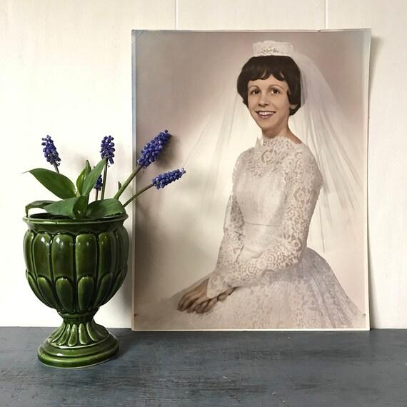 vintage bride photograph - kitsch bridal portrait - Mid Century Modern - bridal shower wedding - collage supply - paper ephemera