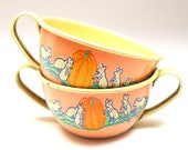 1930s CINDERELLA tin toy cream & sugar pots with storybook graphics. Art by Fern Bisel Peat. Mice and pumpkin.