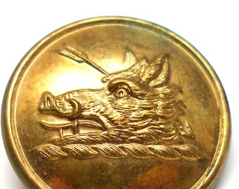 "1800s Livery BUTTON, Speared Boar's head, brass button 1"". Made in London."