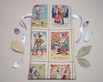 The Flower Girl and the Baker - Lined Drawstring Tarot Card Deck Pouch