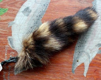 Raccoon tail - real eco-friendly raccoon fur totem tail on recycled leather extra strong belt loop for shamanic ritual and dance RS09