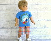 American Boy Doll Clothes, Surfer Tee Shirt and Madras Plaid Shorts, 18 inch Doll Summer Outfit
