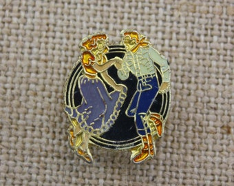 Square Dancing - Enamel Pin by American Gag Bag Inc. - Vintage Novelty Pin c. 1980s
