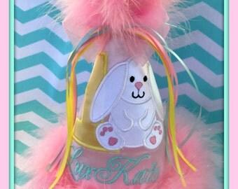 Bunny Birthday Hat, Easter Bunny Birthday Hat, Bunny 1st Birthday Hat, Easter Bunny 2nd Birthday Hat, Easter Birthday Hat, by GINGHAM BUNNY