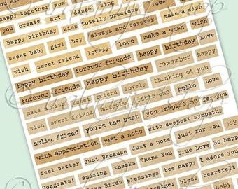 SALE EXPRESSIONS No.1 Collage Digital Images -printable download file Digital Collage Sheet Vintage Paper Scrapbook