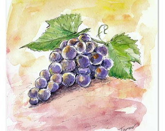 Grapes, Original Watercolor Painting, 8 X 8  inch, Kitchen Art, Fruit Artwork, Still Life, Grape Wall Art, Vine