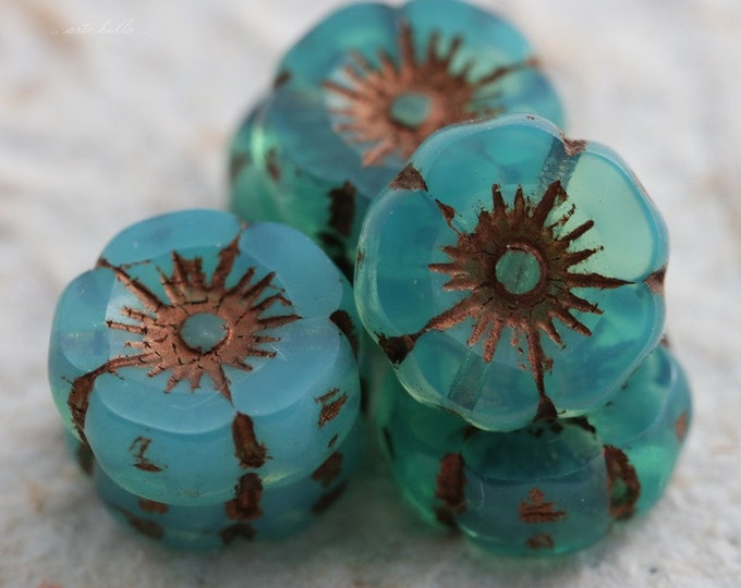 TEAL COPPER PANSIES .. 6 Picasso Czech Glass Flower Beads 11-12mm (5570-6)