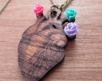 Wooden heart necklace laser cut whith resin flower, Wood heart pendant, Mexican wooden jewelry, Laser cut heart pendant, Wooden jewelry
