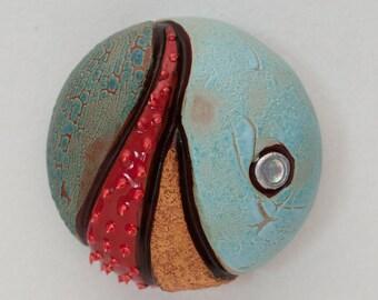 Mini Ceramic Sculpture - Abstract Sea Urchin, wall decor, wall hanging (L-04)