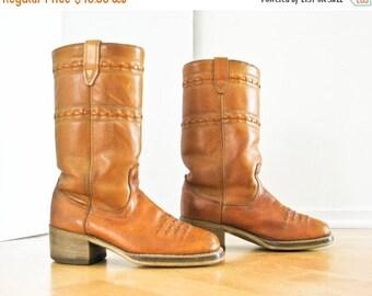 Sale Leather Boots, Cowboy Western Campus Boots, Women 9, Men 7.5