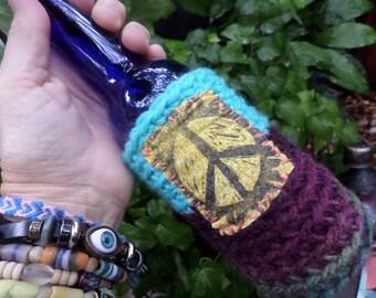 Hippie Festival, beer cooler, can cooler, bottle cooler, Beer cozy, Cheers, D43, Hippie peace, hippie crochet, boho beer, crochet beer