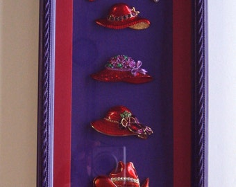 Red Hat Original Design Glassed Shadowbox Wall Hanging