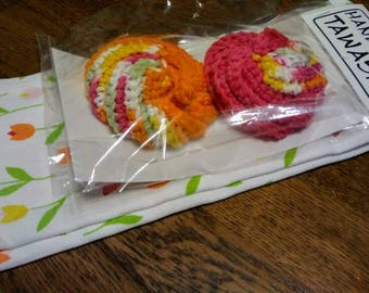 Spring Tulips Crochet Tawashi Dish-washing scrubbies poufs with loops cotton kitchen towel hand towel set tangerine hot pink