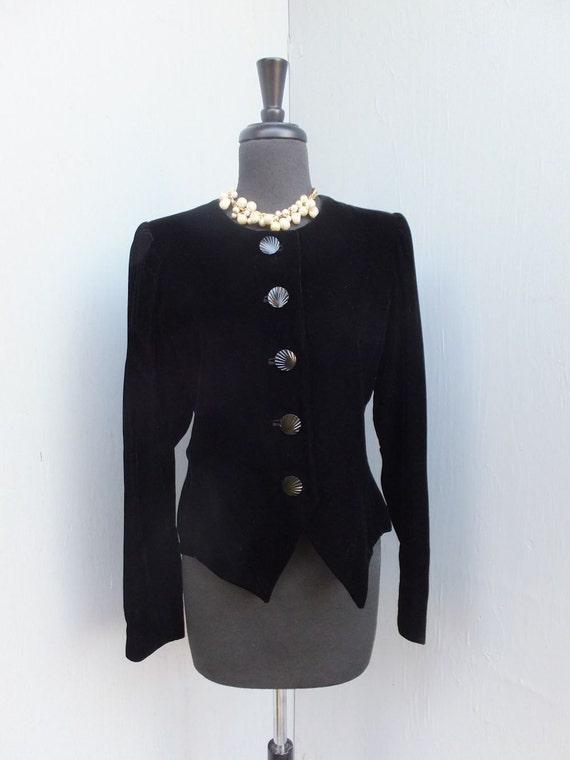 Vintage 80s Yves Saint Laurent, Black Velvet Jacket,  Rive Gauche, Haute Couture, Designer Jacket, Size 42
