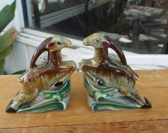 Vintage Thames Gazelle Salt and Pepper Shakers Art Deco Leaping Gazelle Salt and Pepper Shakers