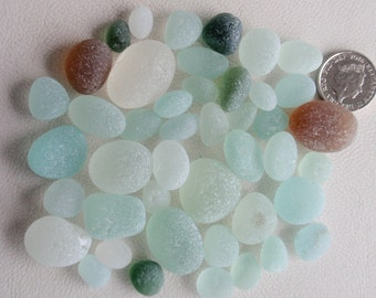 English sea glass 43 rounds all colours all sizes jewellery quality very frosted