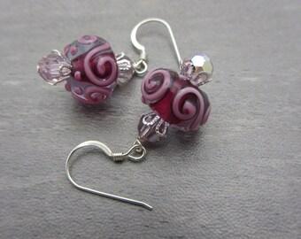 Lampwork Earrings Fuchsia and Pink Earrings Glass Bead Earrings Dangle Drop Earrings SRAJD USA Handmade