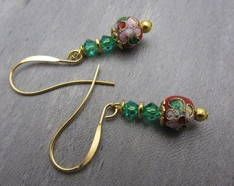 Red and Green Christmas Earrings Cloisonne Beads Swarovski Crystals Christmas Jewelry Christmas Earrings Holiday Earrings SRAJD USA Handmade