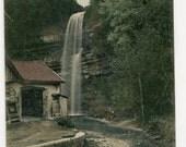 French waterfall vintage postcard, Charix - Cascade du Moulin de Charix, colored real photo postcard