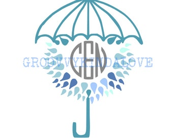 April Showers Monogram Frame Instant Download for Electronic Cutters