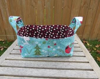 Fabric Basket Bin, Storage, Organization, Home Decor, Gift Bin, Fabric Bin, Christmas with Cardinals on Aqua with Red and Burgundy