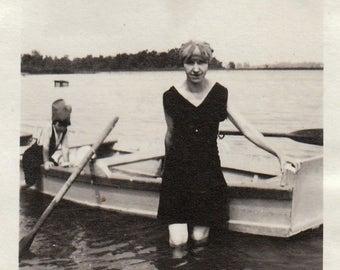 Original Vintage Photograph Snapshot Woman Girl Boat Rowboat Swimsuits Swim Caps 1910s-20s