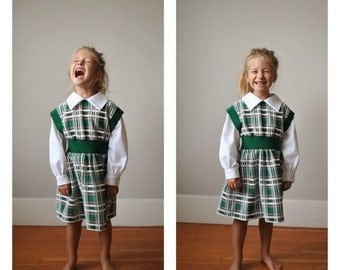 ON SALE 1970s Forest Plaid Dress~Size 4t/5t
