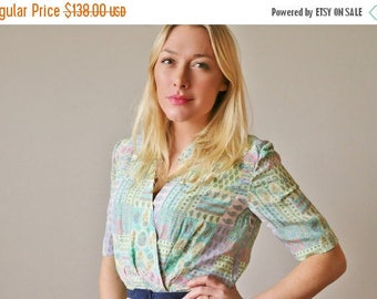 25% OFF SALE 1970s Mila Schon Summer Floral Dress~Size Extra Small