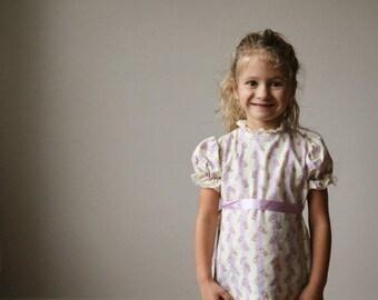 25% OFF SALE 1960s Lilac Dot & Bouquet Dress~Size 2t or 3t