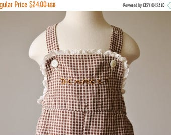 SPRING SALE 1940s Chocolate Giraffe Overalls >>> Size 18 Months