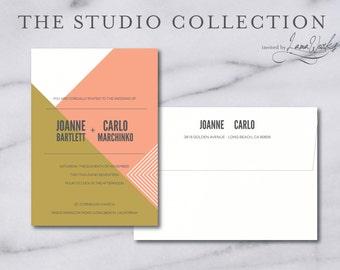 Pink and Gold Modern Wedding Invitations | Minimalist Wedding Invitations | Coral Invitation Suite | Simple Invite | Custom | Joanne & Carlo