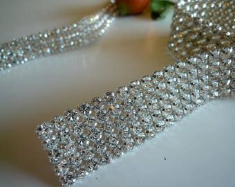 DIVA Rhinestone  Banding, Trim / Clear Crystal w/ Silver Back / 6 Rows  1 yard