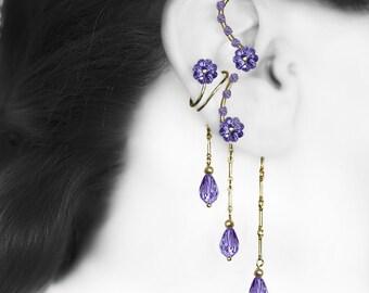 Purple Swarovski Crystal Ear Wrap and Cuff, No Piercing, Cartilage Earring, Jewelry Set, Tanzanite Crystal, Bridal Jewelry,  v16