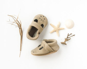 Beige T-STRAPS  Soft Soled Leather Shoes Baby and Toddler Free Shipping in US