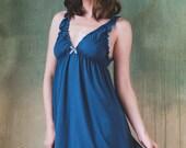 Blue/green Bamboo Nightie + panty - Lingerie, underwear, sleepwear, nightgown, pyjama, plus size, organic, maternity, sexy, christmas, lace
