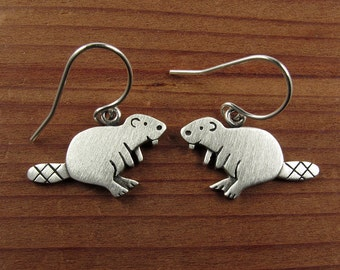 Tiny beaver earrings