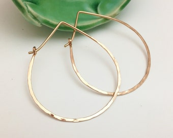 Rose Gold Teardrop Hammered Hoops - Large H01RG-L Minimalist, Textured, Pink gold - handmade wire jewelry by cristysjewelry on etsy