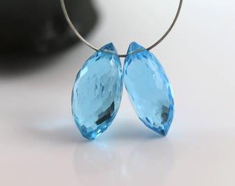 Swiss Blue Topaz - Dewdrop Briolettes - Blue Topaz - Pair