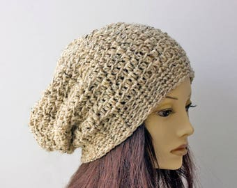 Hand Crocheted Slouchy Beanie, Custom Chose Color, Beige Tweed Slouch Hat, Winter Hat