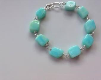 Blue opal bead bracelet, pastel beads, summer wedding.