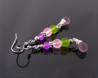 Colorful Seaglass Earrings, Czech Sea Glass Earrings, Pink, Green and Purple Earrings, Sea Glass Jewelry, Colorful Jewelry, E2389