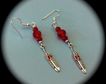 Red Crystals and Silver Feather Long Dangle Fashion Earrings for Every Day Wear boho gypsy native  gift fall winter southwestern
